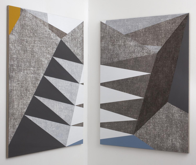 Francesca Simon, In Construction, 2014, acrylic on linen on wood, diptych, each
