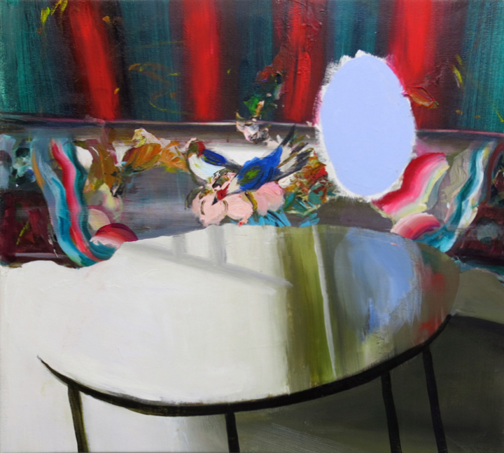 Judith Simonian, Blue Mirror Table, 2014, acrylic on canvas, 28 x 30.75 inches (
