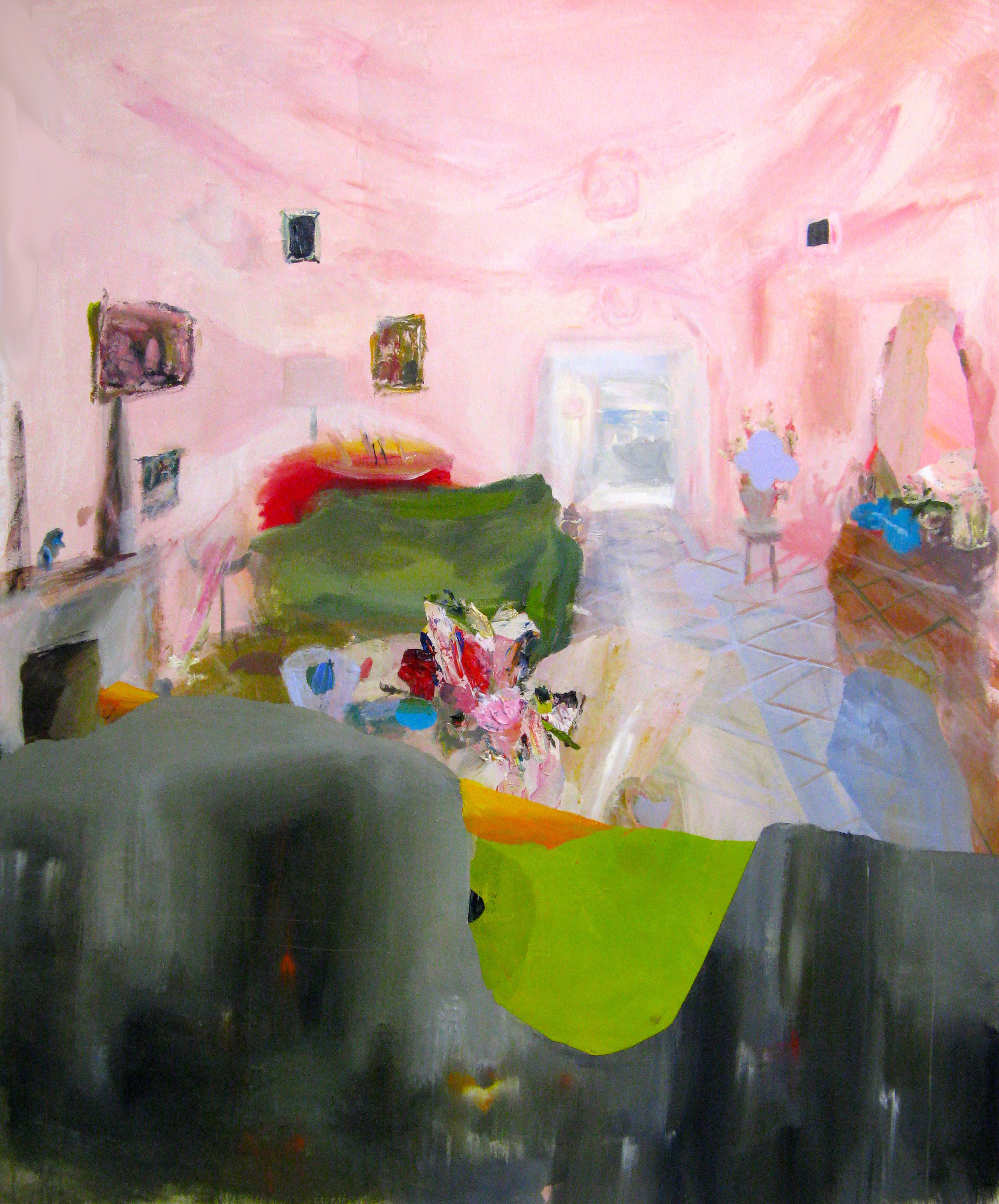 Judith Simonian, Fleshy Pink Room, 2014, acrylic on canvas, 72 x 60.25 inches (courtesy of Edward Thorp Gallery)