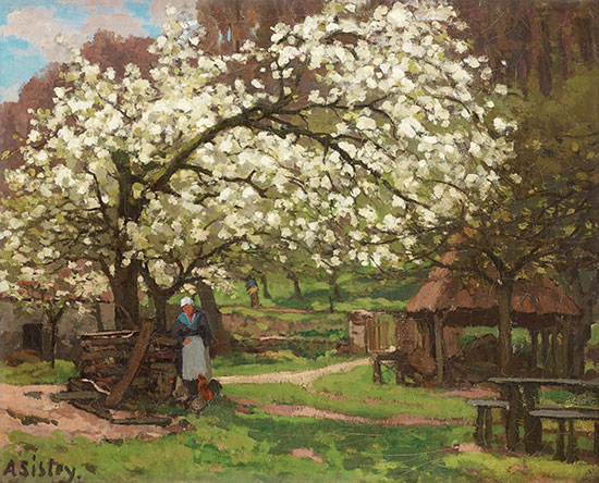 Alfred Sisley, Spring, Peasant under Trees in Blossom, 1865-66, oil on canvas, 46.5 x 56 cm (Galerie Bailly, Geneva. Image courtesy of Galerie Bailly, Geneva)