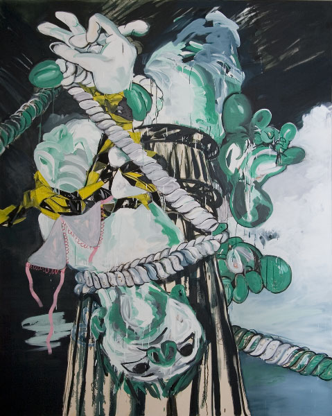 Susan Sluglett, Stag, 2012, oil and charcoal on canvas, 250 x 200 cm (courtesy o