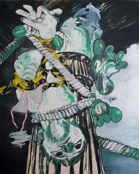 Susan Sluglett, Stag, 2012, oil and charcoal on canvas, 250 x 200 cm (courtesy o