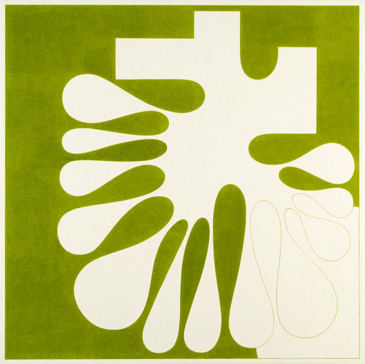 "Cary Smith, Splat #23, UF (green), 2011, oil on linen 36"" x 36 inches (courtesy"