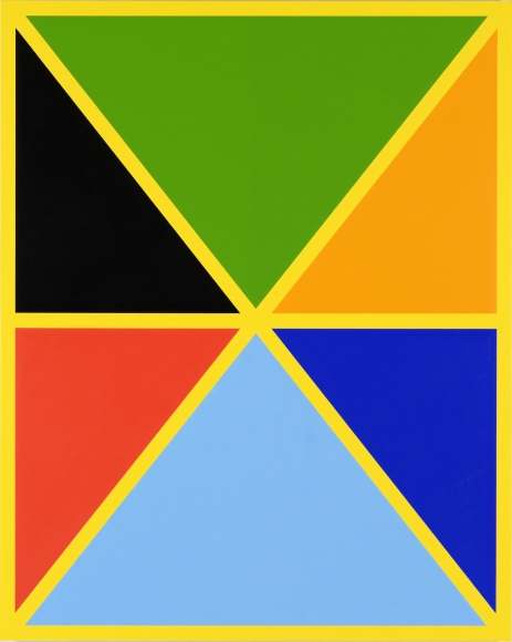 Cary Smith, Diagonals (with 7 colors) #1, 2017, oil on linen, 50 x 40 inches (courtesy of Fredricks & Freiser)