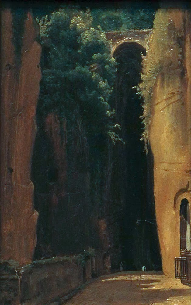 Gustaf Söderberg, The Grotto of Posillipo, Naples, 1820, oil on paper, laid down