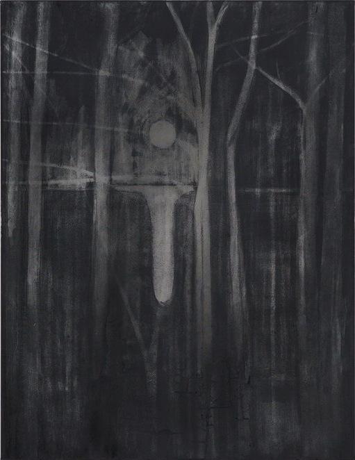 Silke Otto-Knapp, Trees and Moon, 2013, watercolour on canvas, 130 x 100 cm (© C