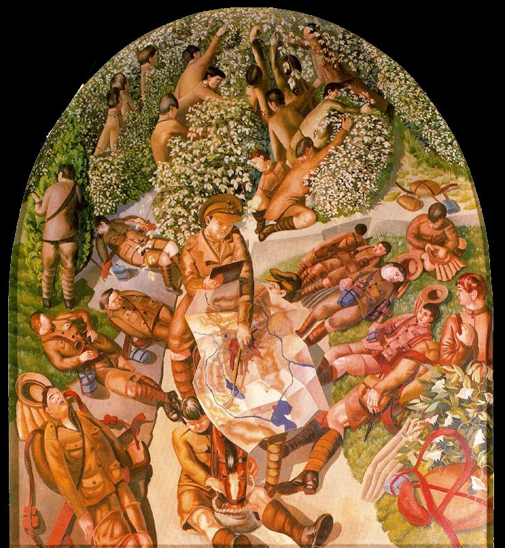 Stanley Spencer, Map Reading, 1927–1932, oil on canvas, 215 x 185 cm (National T