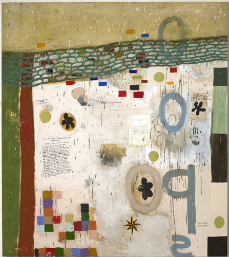 Squeak Carnwath, Beautiful Ugly, 2008, Oil and alkyd on canvas over panel, 90 x