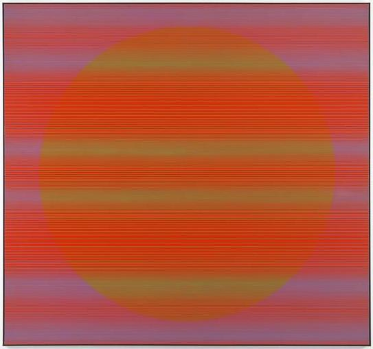 Julian Stanczak, Referential Circle, 1968, acrylic on canvas, 72 1/8 by 77 1/8 i