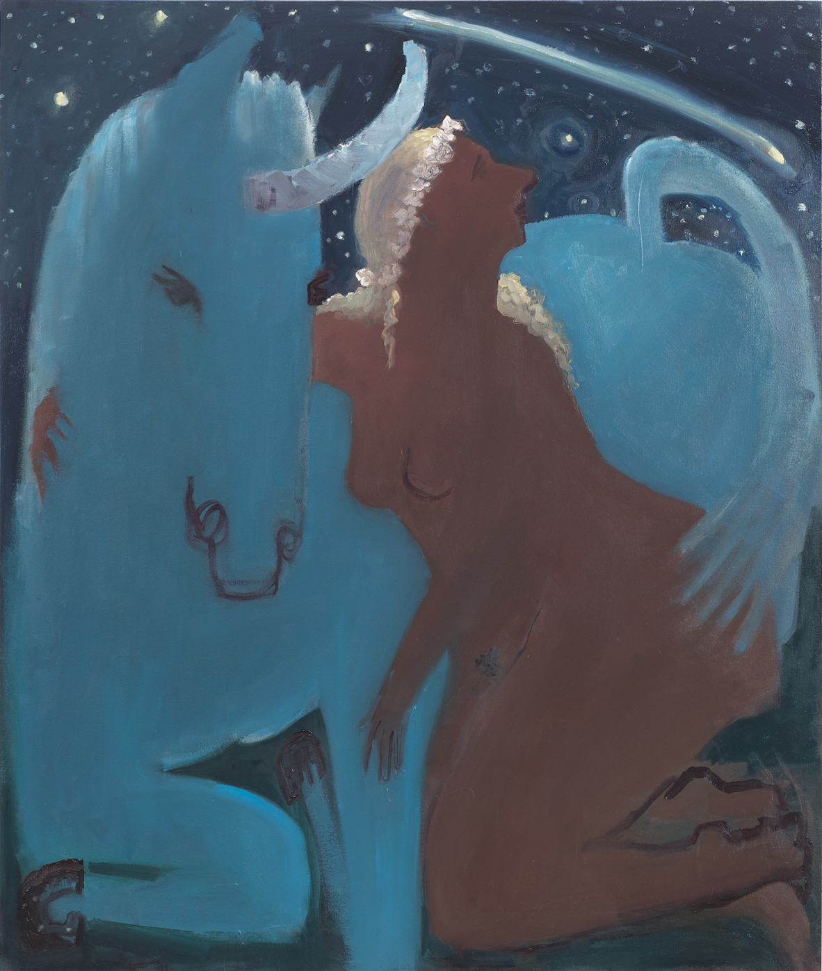 Kyle Staver, Unicorn and Shooting Star, 2015, oil on canvas, 42 x 36 inches (cou