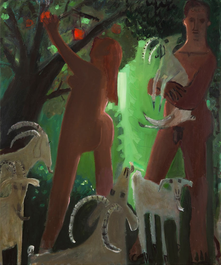 Kyle Staver, Adam and Eve and the Goats, 2016, oil on canvas, 64 x 54 inches (courtesy of Kent Fine Art)