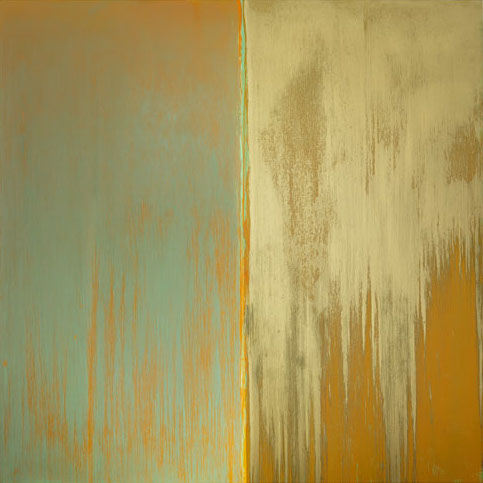 Pat Steir, Green, Orange and Mica, 2013, oil on canvas 132 x 132 inches (courtes