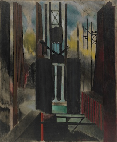 Joseph Stella, Factories, 1918, oil on burlap, 56 x 46 inches (Museum of Modern