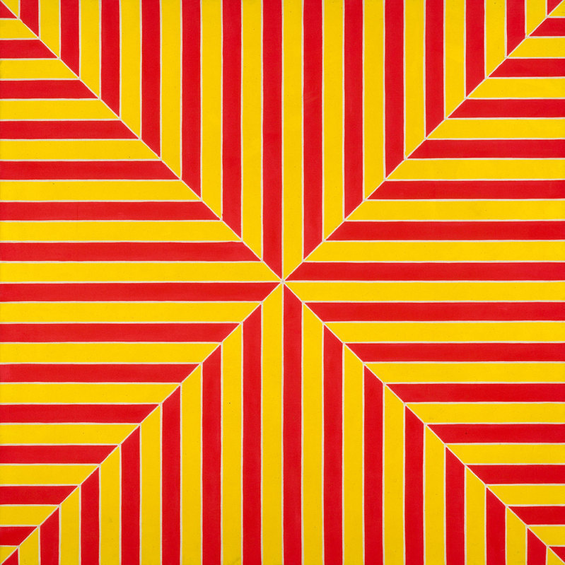 Frank Stella, Marrakech, 1964, Fluorescent alkyd on canvas, 77 × 77 × 2 7/8 inch
