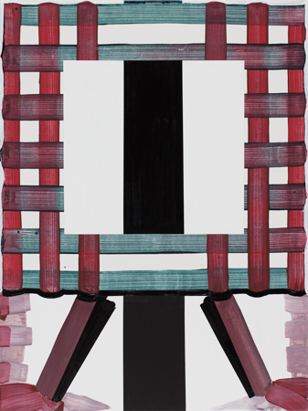 "Gary Stephan, Small Mental Furniture- Black and White,  acrylic on canvas, 40"" x"