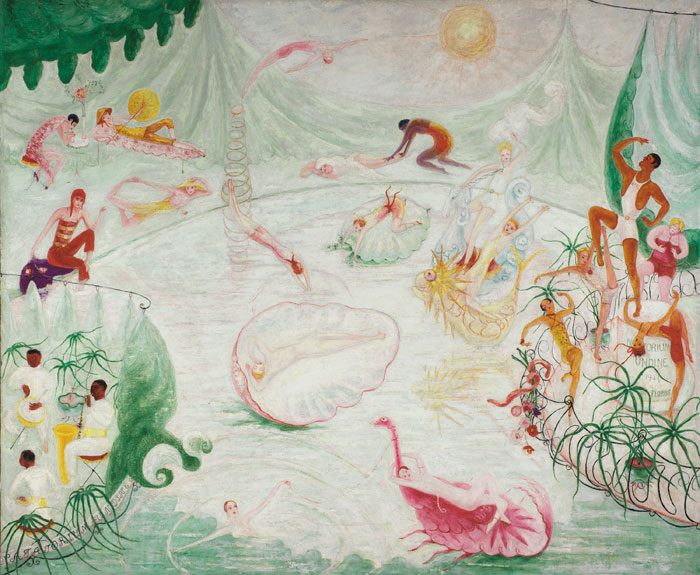 Florine Stettheimer, Natatorium Undine, 1927, oil and encaustic on canvas, 50 1/