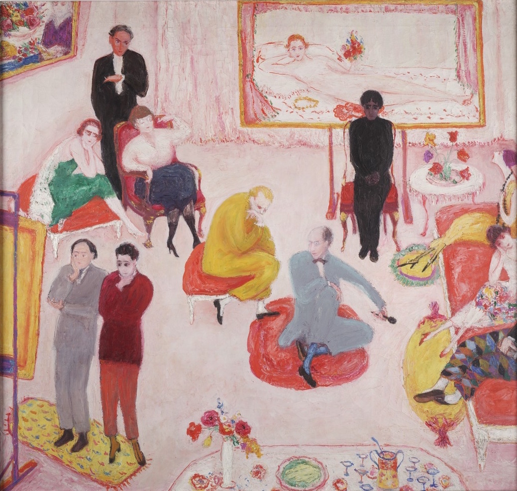 Florine Stettheimer, Soireé, c. 1917, oil on canvas, 81 x 85 cm (courtesy of the Yale Collection of American Literature, Beinecke Rare Book and Manuscript Library, Florine and Ettie Stettheimer Papers)