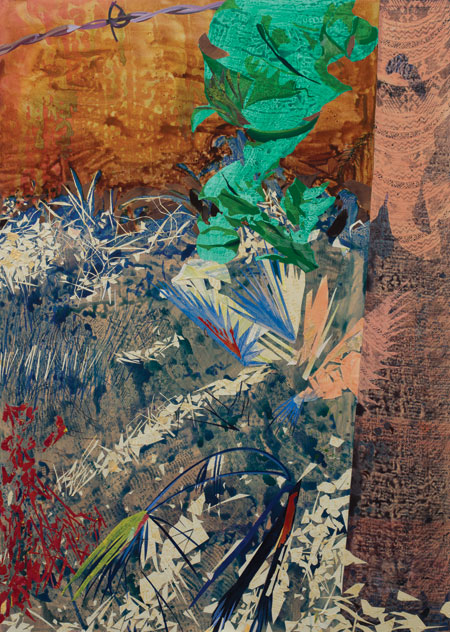 Eva Struble, Lemondrop, 2014, acrylic, paper and screen print on wood panel, 65
