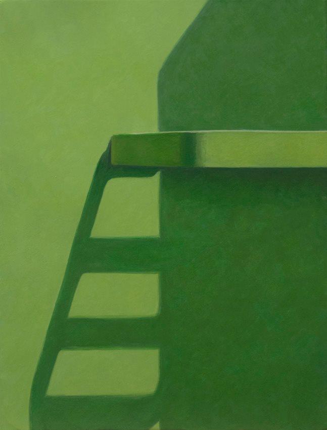 Altoon Sultan, Shadow Ladder, 2013, egg tempera on calfskin parchment, 9 1/2 x 7