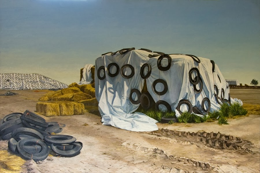 Altoon Sultan, Hay Storage, Central Valley, California, 1995, oil on canvas, 44
