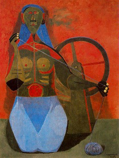 Rufino Tamayo, Woman Spinning (Mujer hilando), 1943, oil on canvas, 43 x 32 inch