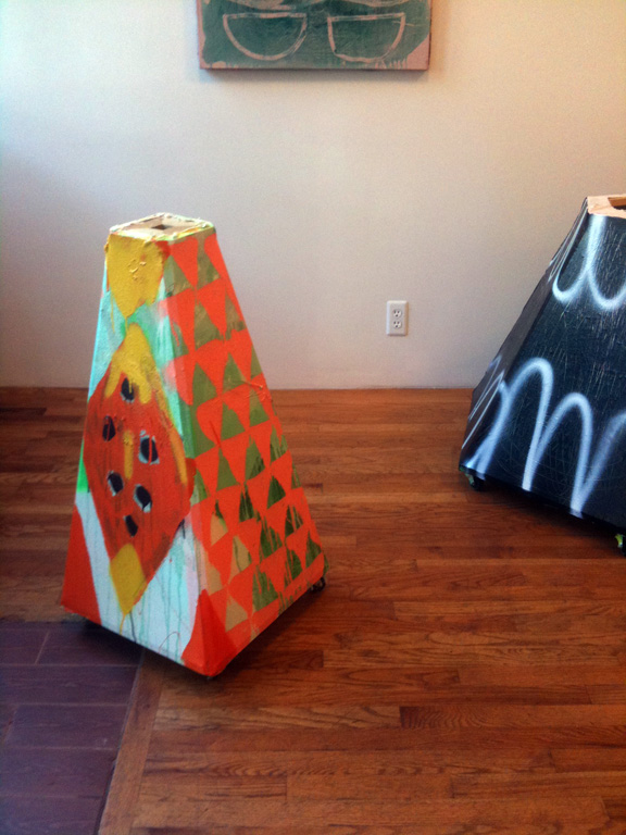 Two paintings by Tatiana Berg at Tompkins Projects (photo: Sharon Butler)