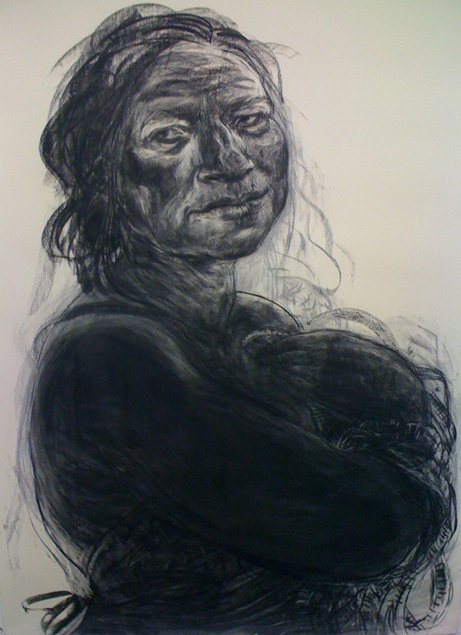 Anita Taylor, Vestiges, 2012, charcoal on paper, 210 x 156 cm (courtesy of the a