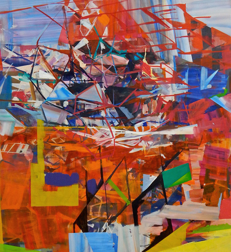 Marie Thibeault, Engineering, 2015, oil on canvas, 72 x 66 inches (courtesy of G