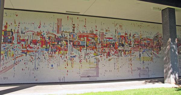 Wayne Thiebaud, Water City, Mosaic, 250 × 15', Sacramento Municipal Utilities He