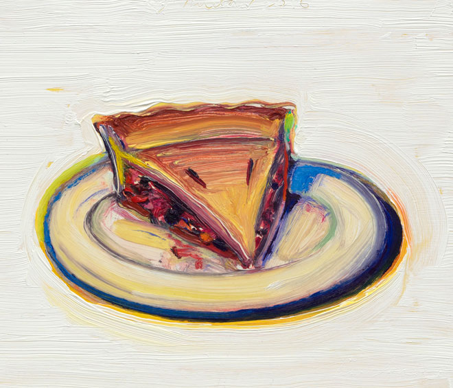 Wayne Thiebaud, Cherry Pie, 2016, oil on paper mounted on board, 8 1/2 x 10 inches (© Wayne Thiebaud/DACS, London/VAGA, New York 2017)