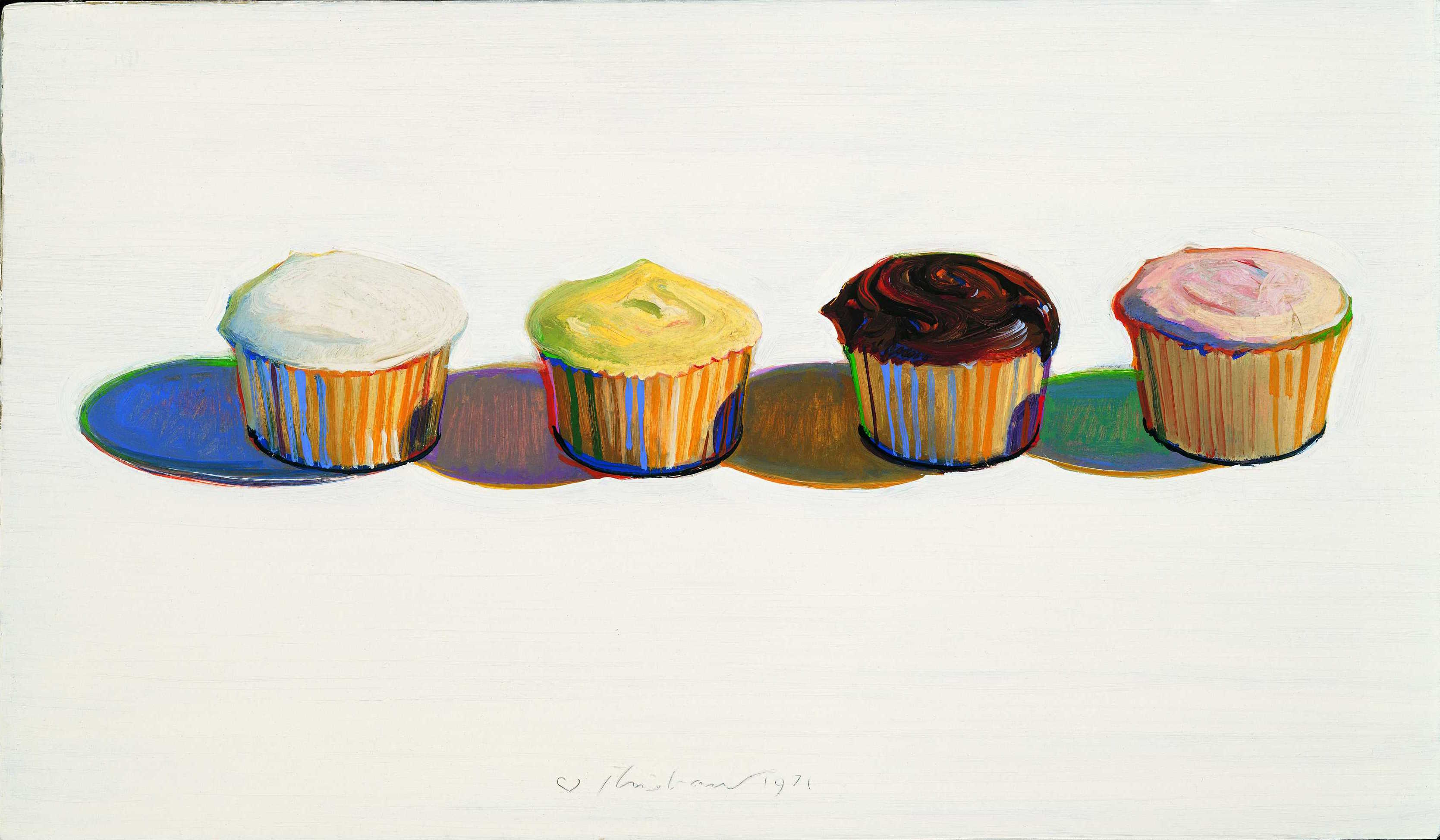 Wayne Thiebaud , Four Cupcakes, 1971 (Bologna Museum of Modern Art / Morandi Museum)
