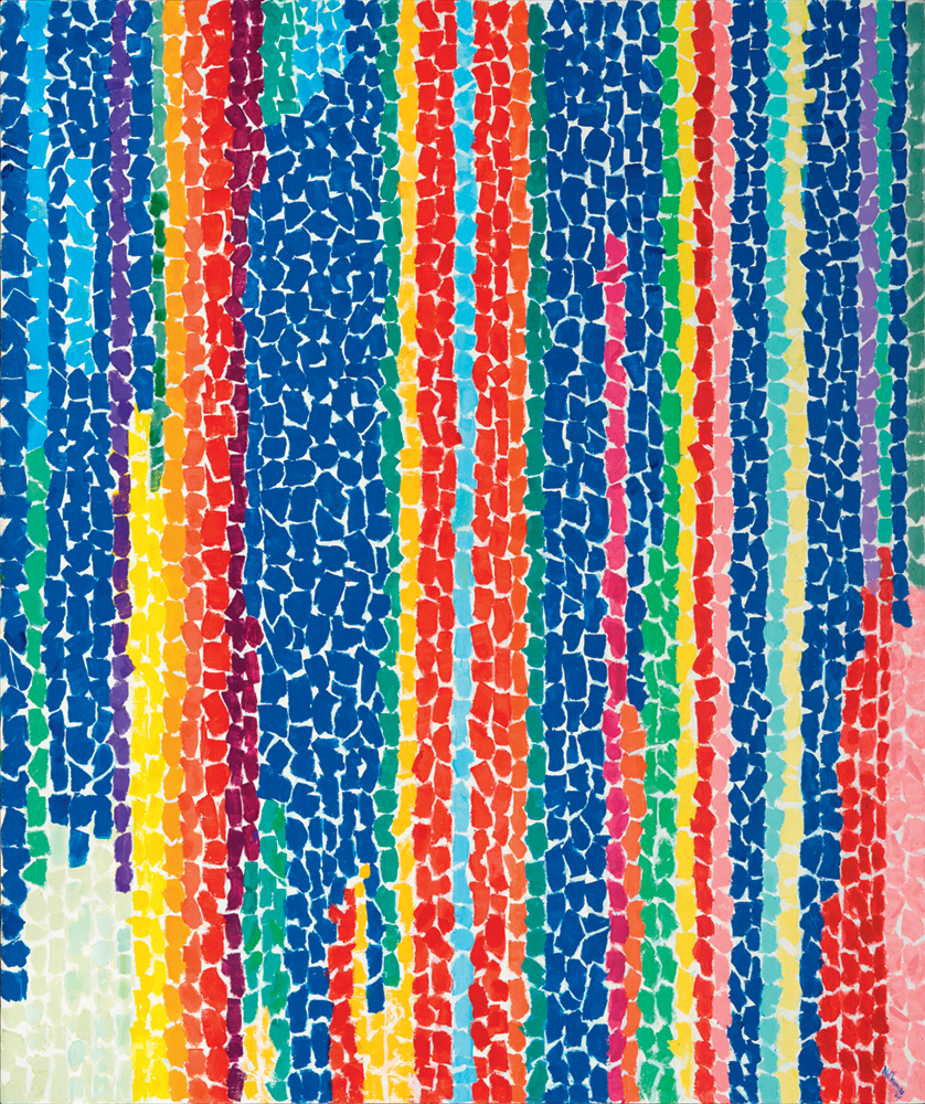 Alma Thomas, Iris, Tulips, Jonquils and Crocuses, 1969, acrylic on canvas, 60 by 50 inches (National Museum of Women in the Arts, Washington, D.C.)