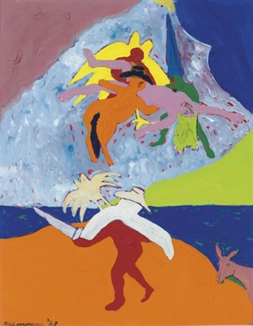 Bob Thompson, First Study for Ascension to the Heavens, 1963, gouache on paper, 24h x 18 3/4w inches (courtesy of Steven Harvey Fine Art Projects)