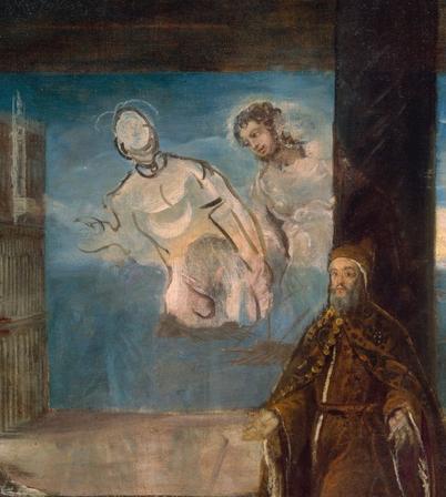 (detail) Jacopo Tintoretto, Doge Alvise Mocenigo Presented to the Redeemer, oil