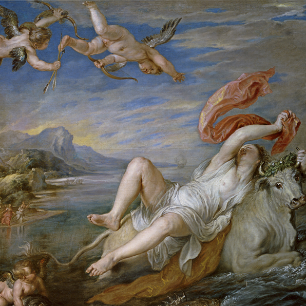(detail) Peter Paul Rubens, Rape of Europa (after Titian), 1628–29, oil on canvas, 71 7/8 x 79 3/8 inches (© Photographic Archive Museo Nacional del Prado, Madrid )