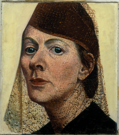 Charley Toorop, Self-Portrait with Hat and Voile, 16 x 14 inches, oil on canvas,