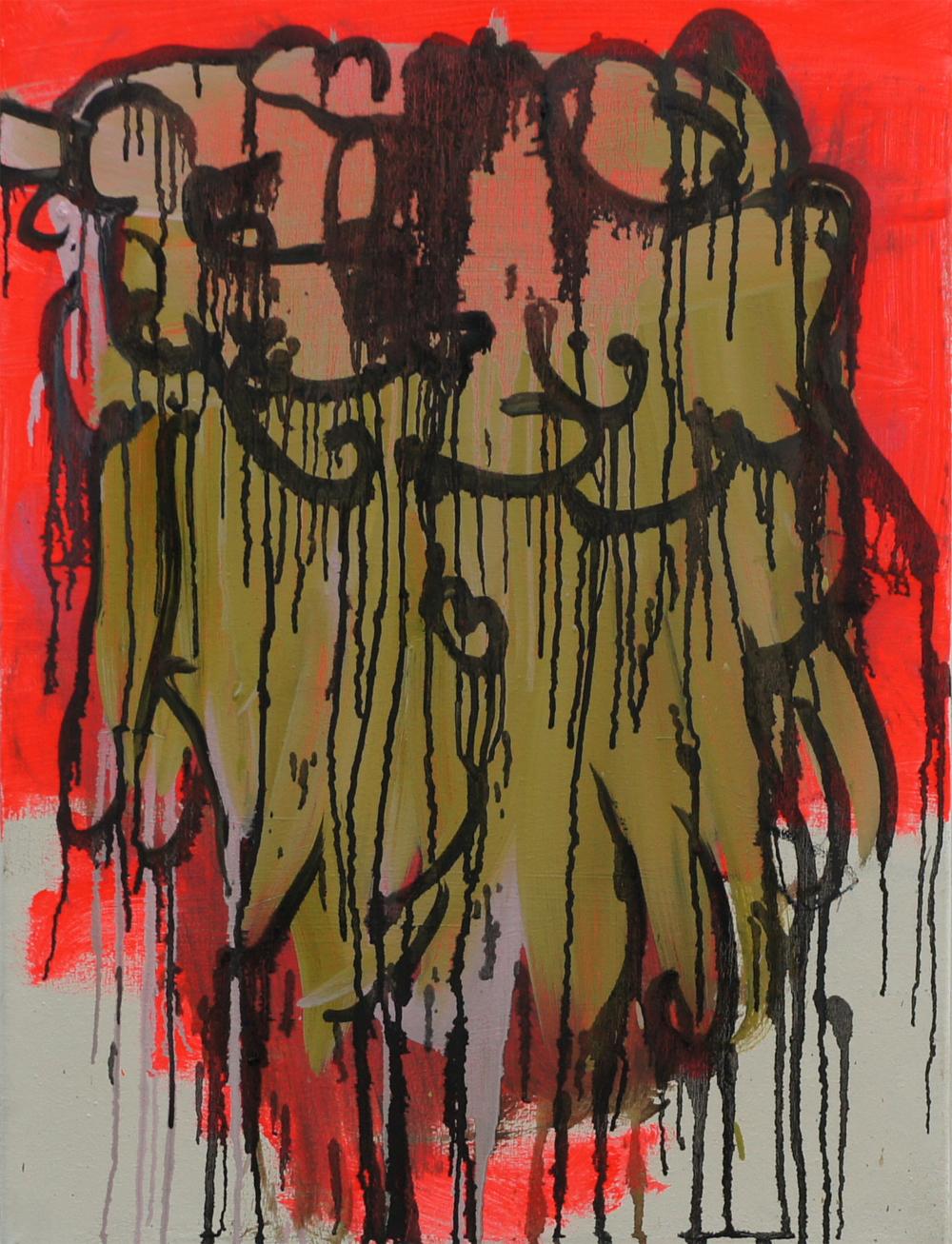 Sabine Tress, Mischpoke, 2014, 70 x 40 cm, oil and acrylic on canvas (courtesy o
