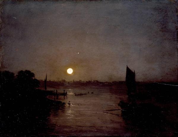 J.M.W. Turner, Moonlight, a Study at Millbank, oil on wood, 314 x 403 mm, exhibi
