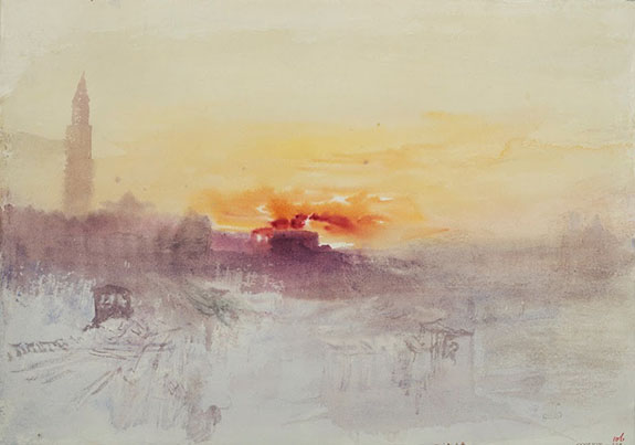 J.M.W. Turner, Venice at Sunrise from the Hotel Europa, with Campanile of San Ma