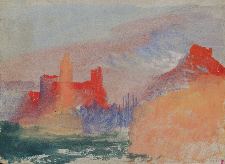 J.M.W. Turner, The Vermilion Towers: Study at Marseille, 1838, Gouache and watercolour on paper (Tate Collection)