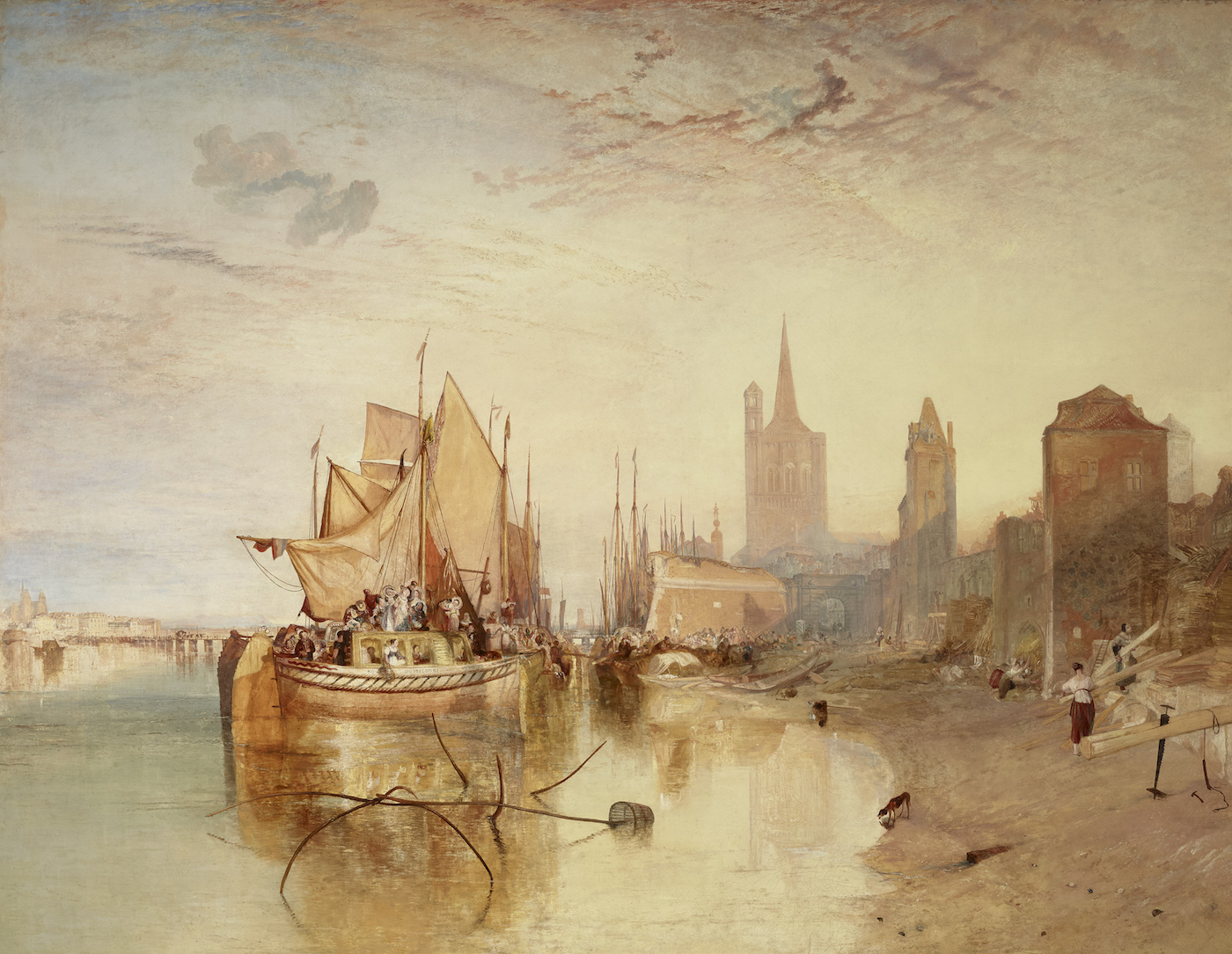 J.M.W. Turner, Cologne, the Arrival of a Packet-Boat: Evening (exhibited 1826), oil on canvas, 66 3/8 x 88 1/4 inches (courtesy the Frick Collection, New York; photo by Michael Bodycomb)