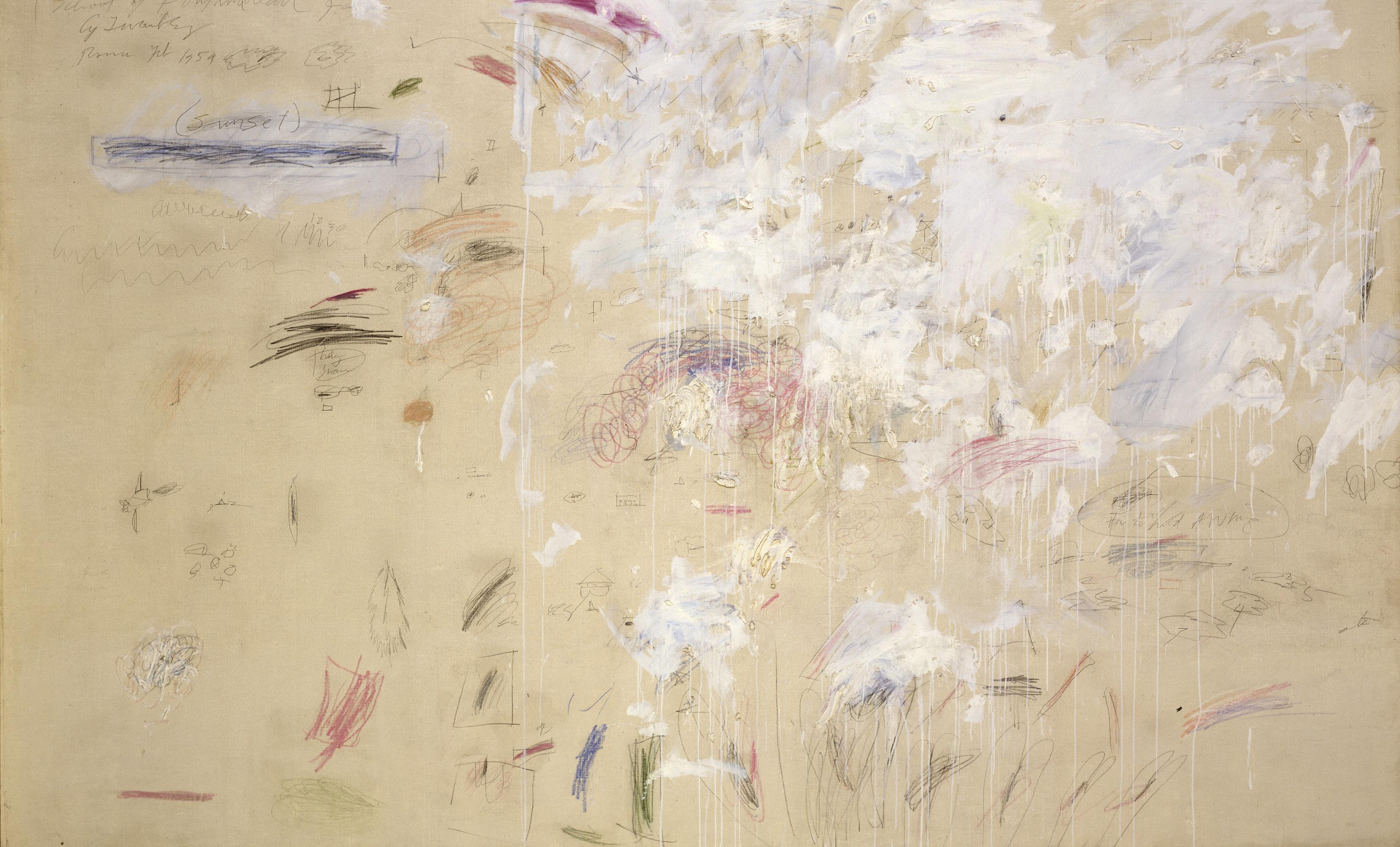Cy Twombly, School of Fontainebleau, 1960, Öl, Wachs-, Farb- und Bleistift auf L