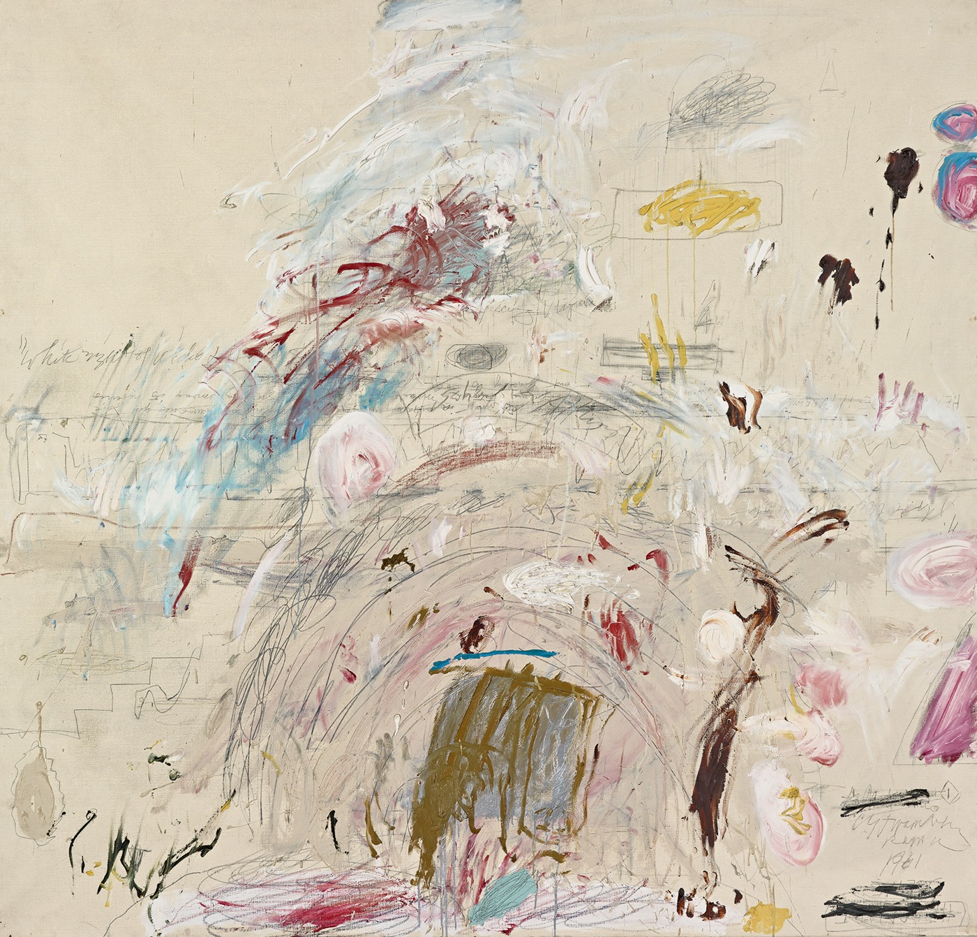 Cy Twombly, School of Athens, 1961, oil, oil-based house paint, colored pencil and lead pencil on canvas, 190.3 x 200.5 cm (© Robert Bayer, Bildpunkt AG, Munchenstein)