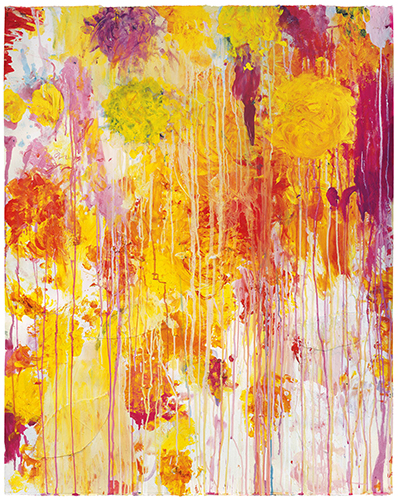 Cy Twombly, Untitled, 2001, acrylic, wax crayon, and cut-and-pasted paper on paper, 48 1/8 × 38 3/4 inches (Private Collection © Cy Twombly Foundation. Courtesy Gagosian)