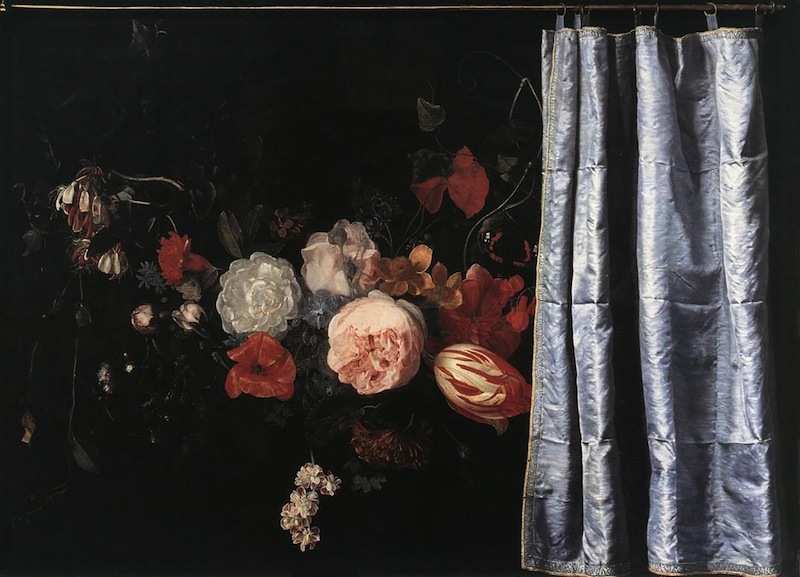 Adriaen van der Spelt, Trompe-l'Oeil Still Life with a Flower Garland and a Curt