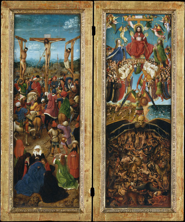 Jan van Eyck, Crucifixion and Last Judgment, ca. 1435 – 40, oil on canvas, trans