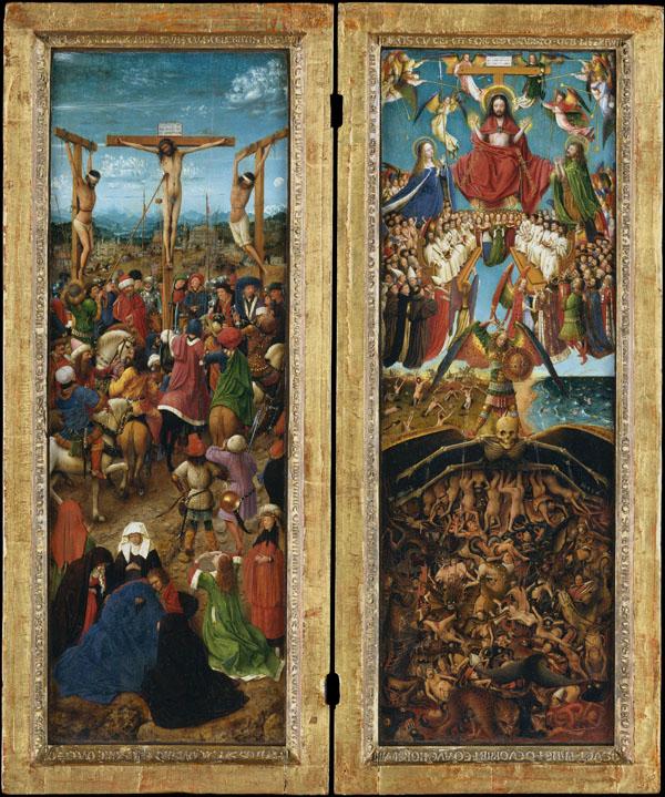 Jan van Eyck, Crucifixion and Last Judgment, ca. 1435 – 40, oil on canvas, trans