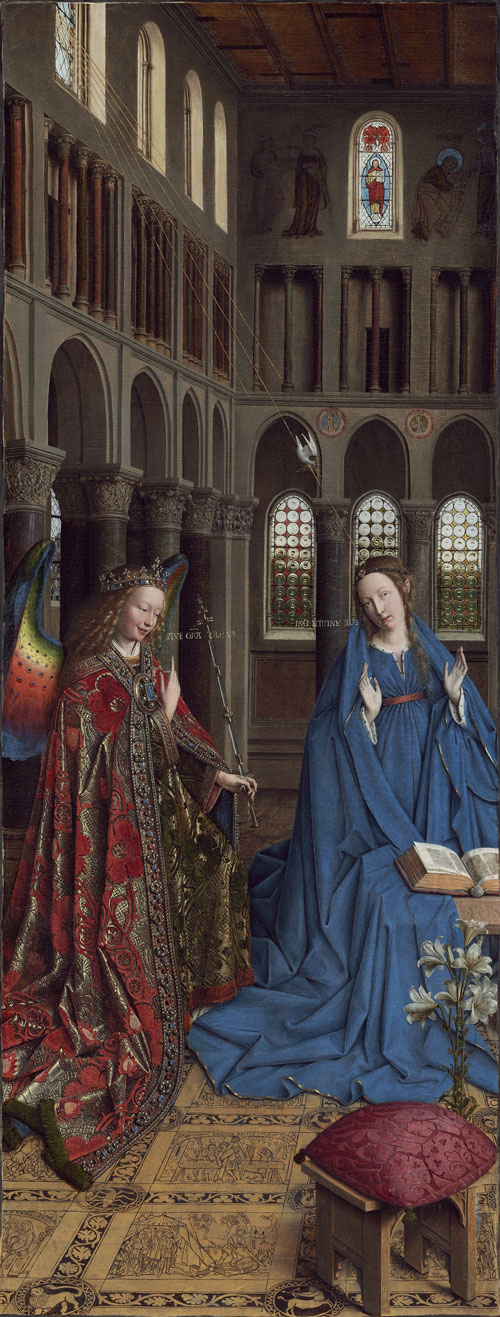 Jan van Eyck. The Annunciation, c1430-35, oak, transferred on to canvas in St Pe