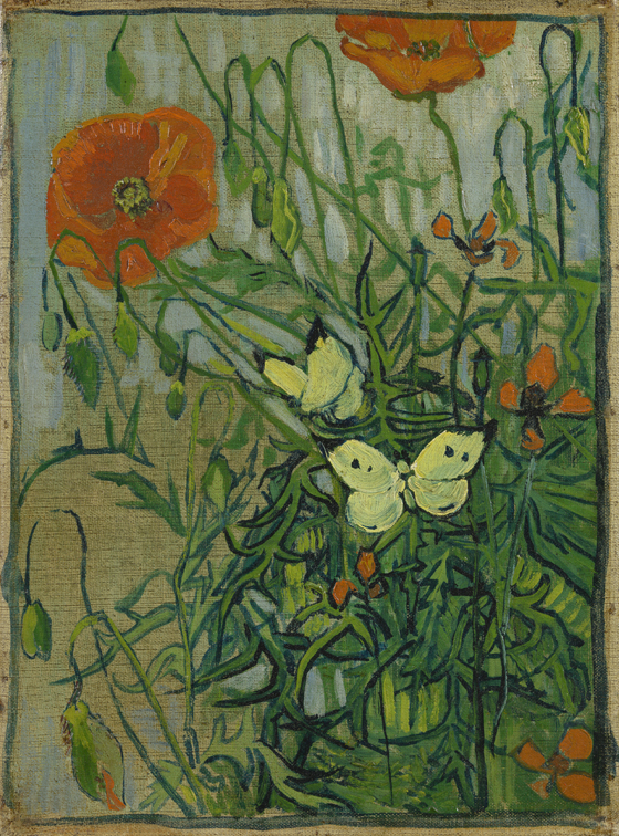 Vincent van Gogh, Butterflies and Poppies, 1890, oil on canvas, 35 x 25.5 cm (Va
