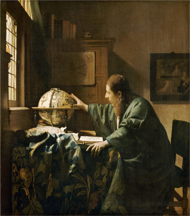 Johannes Vermeer, The Astronomer, 1668, oil on canvas, 19 11/16 x 17 11/16 inches (Musée du Louvre, Paris)
